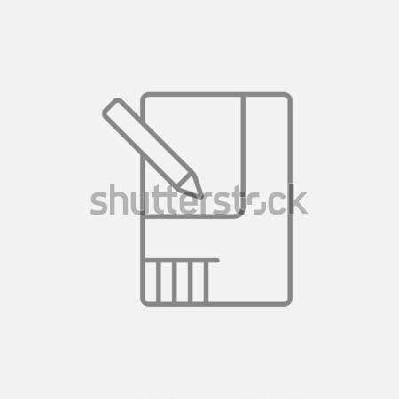 Traçado casa linha ícone teia móvel Foto stock © RAStudio