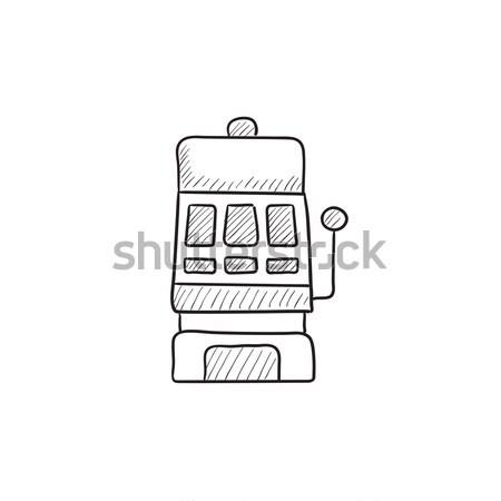 Játékautomata vonal ikon háló mobil infografika Stock fotó © RAStudio