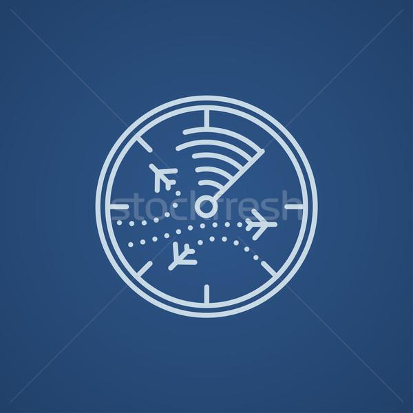 Radar tela aviões linha ícone teia Foto stock © RAStudio