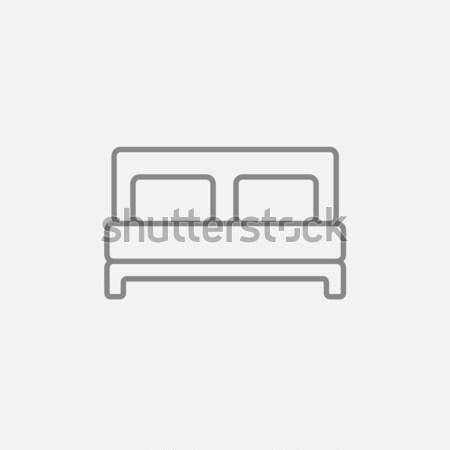 Podwoić bed line ikona internetowych komórkowych Zdjęcia stock © RAStudio