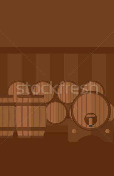 Background of wine barrels in cellar. Stock photo © RAStudio