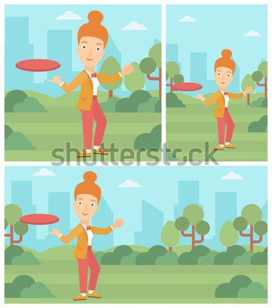 Stock photo: Man playing frisbee.
