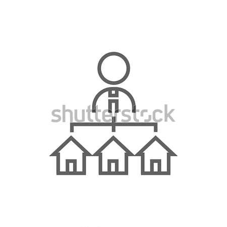 Agent immobilier trois maisons ligne icône web Photo stock © RAStudio