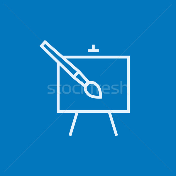 Easel and paint brush line icon. Stock photo © RAStudio