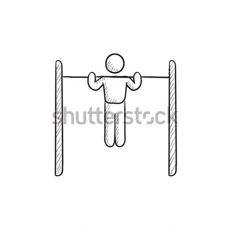 Gymnast exercising on bar line icon. Stock photo © RAStudio