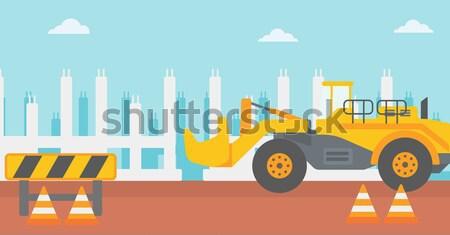 Kotrógép építkezés út vektor terv illusztráció Stock fotó © RAStudio