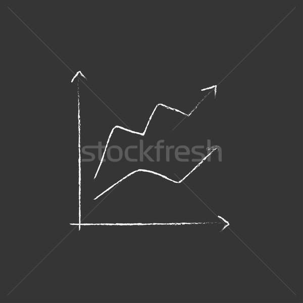 Wzrostu wykres kredy ikona Zdjęcia stock © RAStudio