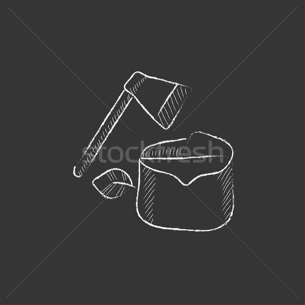 Rajzolt kréta ikon kézzel rajzolt vektor izolált Stock fotó © RAStudio
