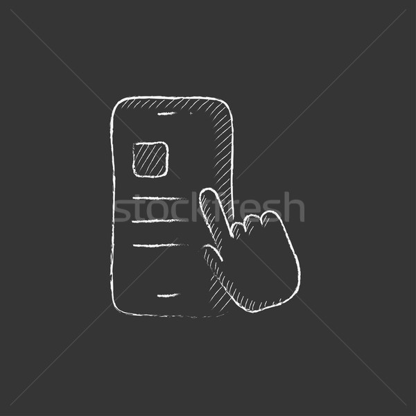 Finger touching smartphone. Drawn in chalk icon. Stock photo © RAStudio