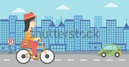 Homem ciclismo trabalhar pasta cidade vetor Foto stock © RAStudio