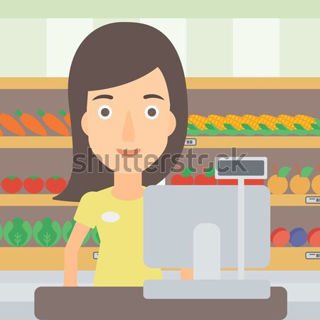 Salesman standing  at checkout. Stock photo © RAStudio