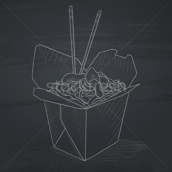 Kinyitott elvesz ki doboz kínai étel evőpálcikák Stock fotó © RAStudio