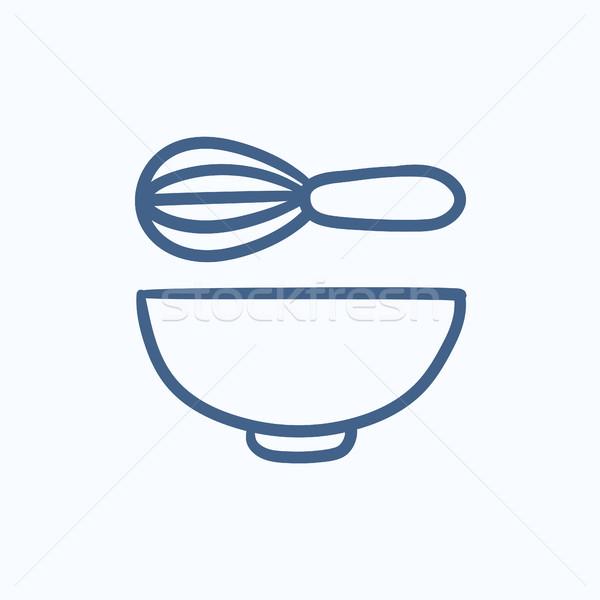 Whisk and bowl sketch icon. Stock photo © RAStudio