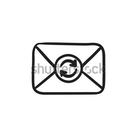 Boríték posta frissít felirat rajz ikon Stock fotó © RAStudio