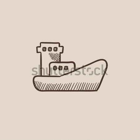 ładunku kontenerowiec szkic ikona wektora odizolowany Zdjęcia stock © RAStudio