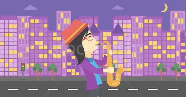 Woman playing saxophone vector illustration. Stock photo © RAStudio