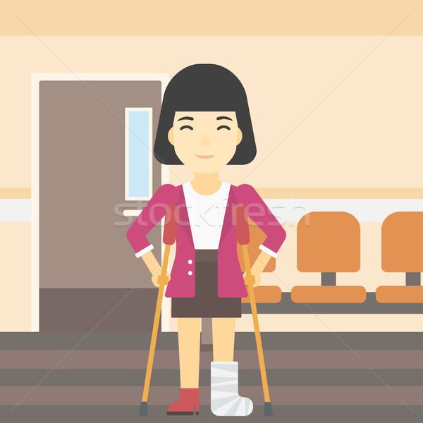 女性 骨折した脚 松葉杖 アジア 脚 ストックフォト © RAStudio