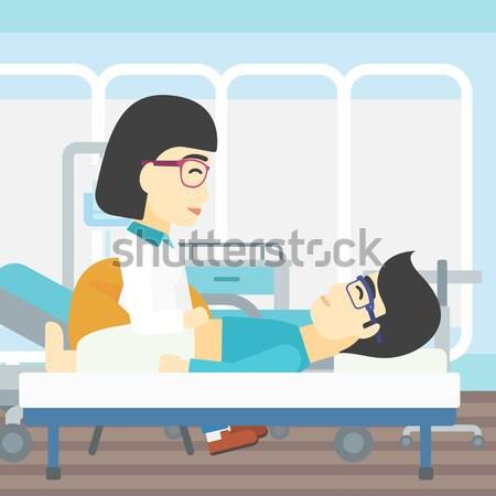 Médico tocar abdomen femenino paciente Asia Foto stock © RAStudio