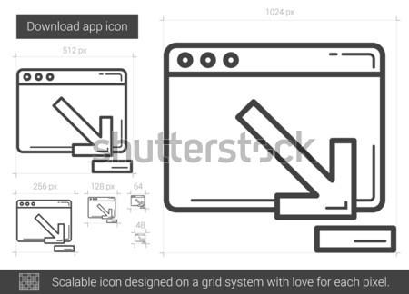 Indirmek uygulaması hat ikon vektör yalıtılmış Stok fotoğraf © RAStudio