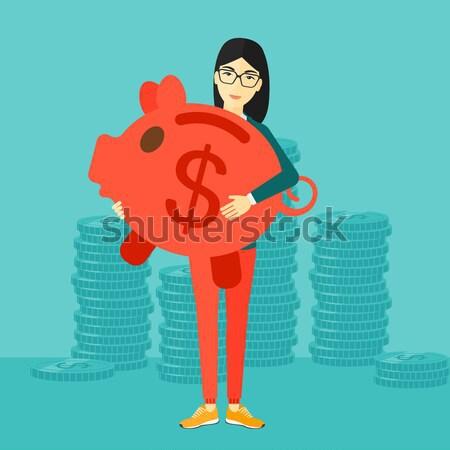 успешный бизнесмен доллара монеты Постоянный синий Сток-фото © RAStudio