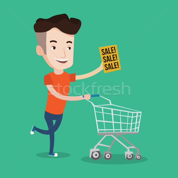 Man running in hurry to the store on sale. Stock photo © RAStudio