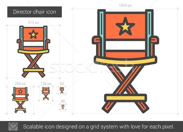 Yönetmen sandalye hat ikon vektör yalıtılmış Stok fotoğraf © RAStudio