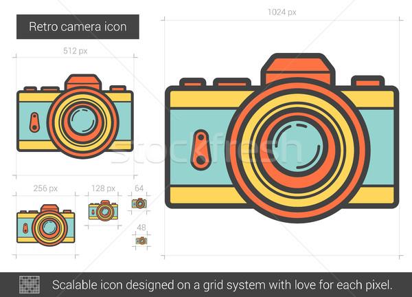 Foto d'archivio: Retro · fotocamera · line · icona · vettore · isolato