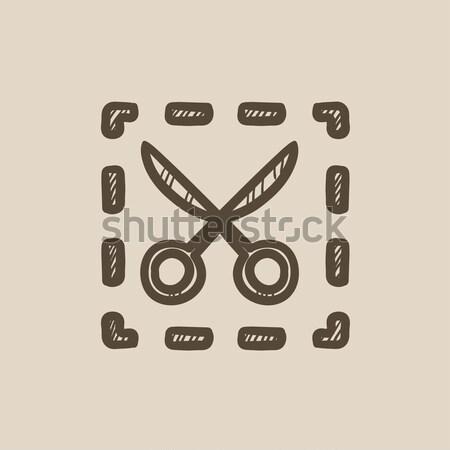 Scissors with dotted lines sketch icon. Stock photo © RAStudio