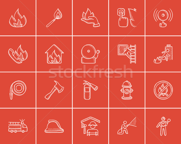 Fire sketch icon set. Stock photo © RAStudio