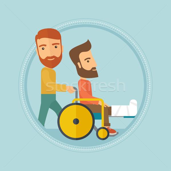 Man voortvarend rolstoel patiënt kaukasisch Stockfoto © RAStudio