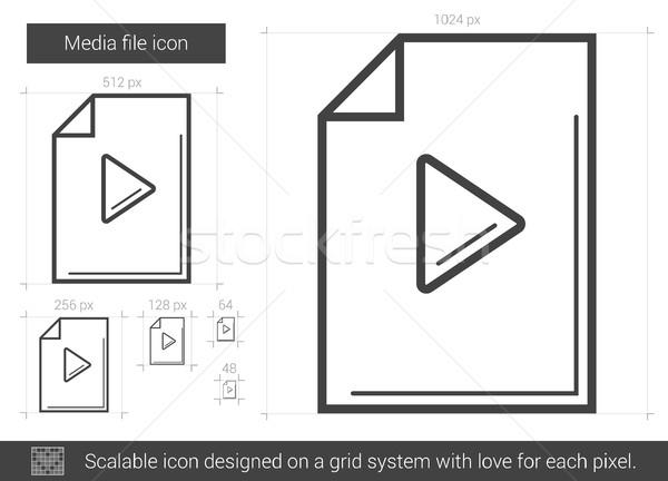Media bestand lijn icon vector geïsoleerd Stockfoto © RAStudio