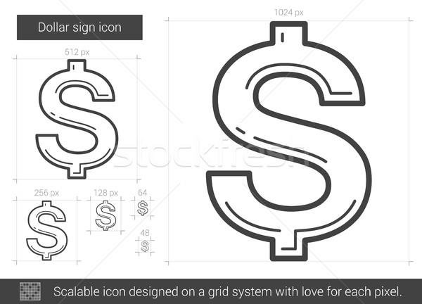 Cifrão linha ícone vetor isolado branco Foto stock © RAStudio