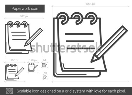 Papírmunka vonal ikon vektor izolált fehér Stock fotó © RAStudio