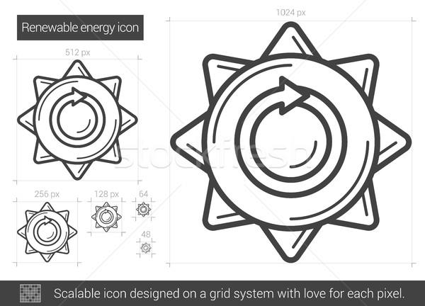 Megújuló energia vonal ikon vektor izolált fehér Stock fotó © RAStudio