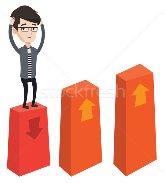 Becsődölt diagram lefelé kaukázusi ijedt üzletember Stock fotó © RAStudio