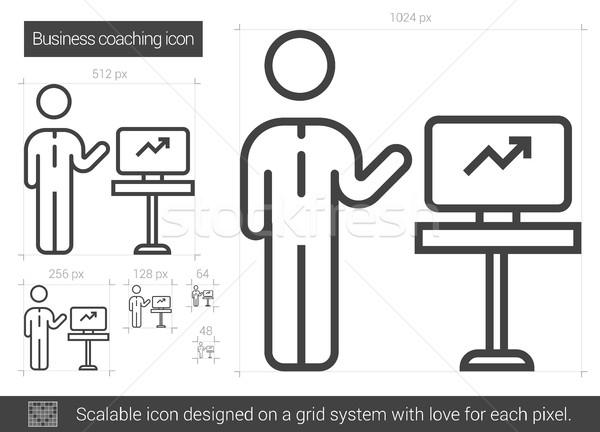 üzlet edzés vonal ikon vektor izolált Stock fotó © RAStudio