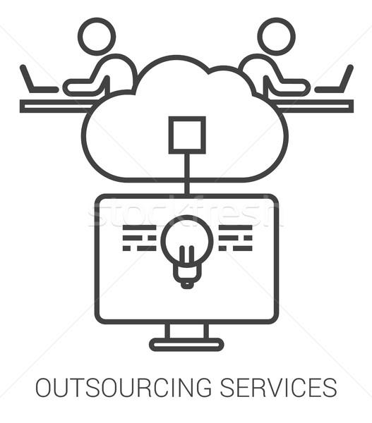 Kiszervezés szolgáltatások vonal infografika metafora ikonok Stock fotó © RAStudio
