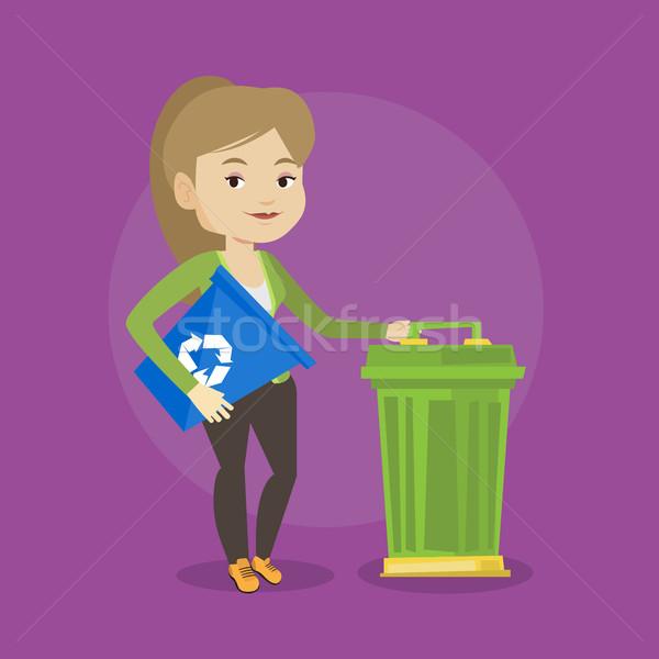женщину Recycle мусорное ведро молодые кавказский Сток-фото © RAStudio