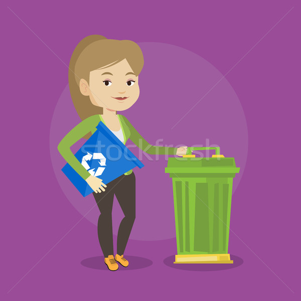 Mulher reciclar cesto de lixo jovem caucasiano Foto stock © RAStudio