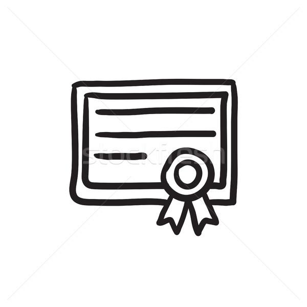 Certificato sketch icona vettore isolato Foto d'archivio © RAStudio