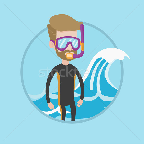 Jonge duiker permanente duiken pak Stockfoto © RAStudio