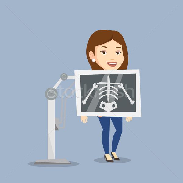 Patiënt x ray procedure jonge kaukasisch vrouw Stockfoto © RAStudio