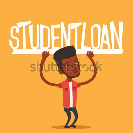 Student holding sign of student loan. Stock photo © RAStudio