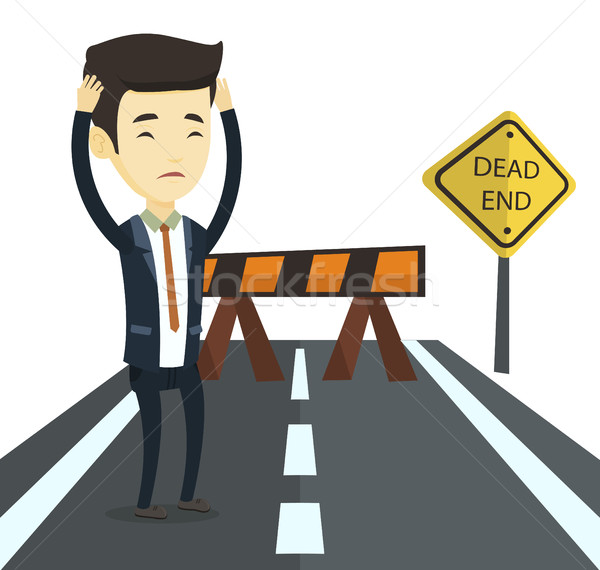 Business man looking at road sign dead end. Stock photo © RAStudio