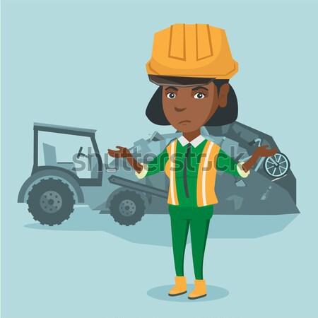 Werknemer bulldozer onzin permanente armen jonge vrouw Stockfoto © RAStudio