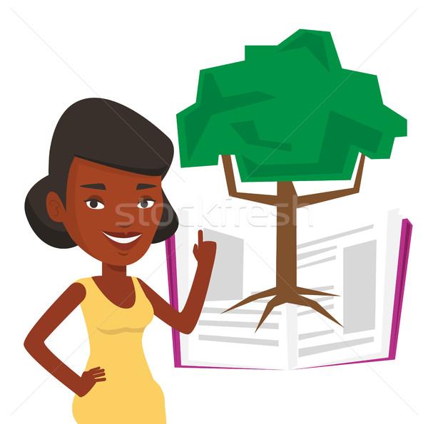 Stock fotó: Diák · mutat · fa · tudás · áll · növekvő