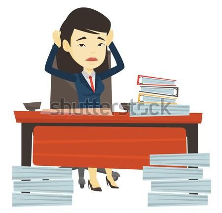 Stressante dipendente seduta lavoro impiegato Foto d'archivio © RAStudio