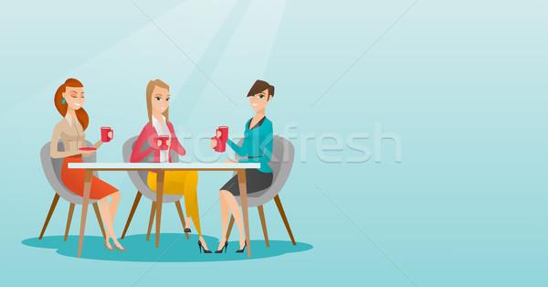 Group of women drinking hot and alcoholic drinks. Stock photo © RAStudio