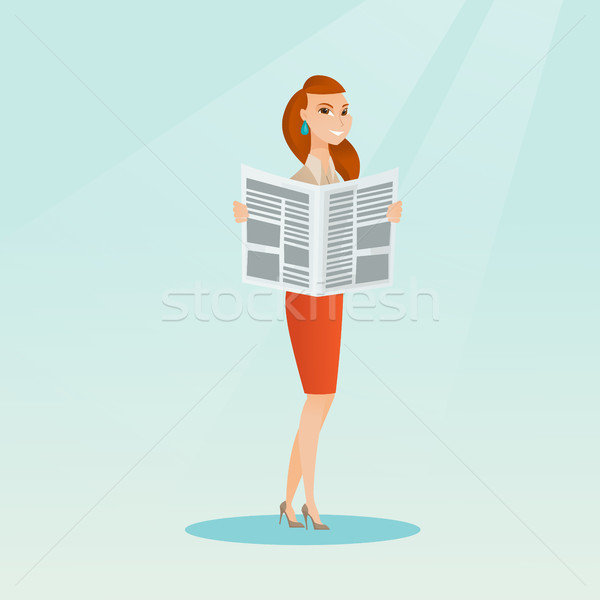 Woman reading a newspaper vector illustration. Stock photo © RAStudio