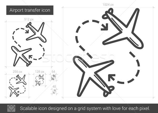 Repülőtér átutalás vonal ikon vektor izolált Stock fotó © RAStudio